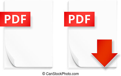 PDF icons, stack of paper sheets and download button, vector illustration