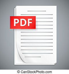 PDF icons, stack of paper sheets, vector illustration