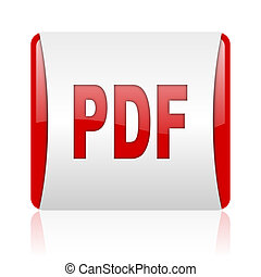 pdf red and white square web glossy icon