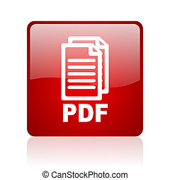 pdf red square glossy web icon on white background