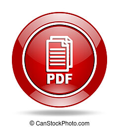 pdf red web glossy round icon,