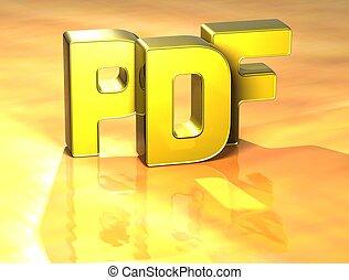 pdf, słowo, tło, żółty, 3d
