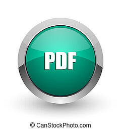 Pdf silver metallic chrome web design green round internet icon with shadow on white background.