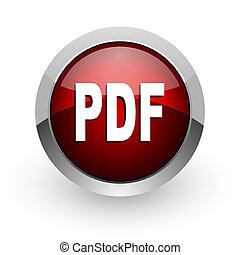 pdf, vermelho, círculo, teia, lustroso, ícone