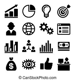 pdg, commercialisation, set., vecteur, icônes