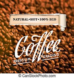 pečený, zrnková káva, beans.