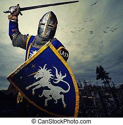 pełny, średniowieczny, rycerz, crosses., przeciw, pagórek