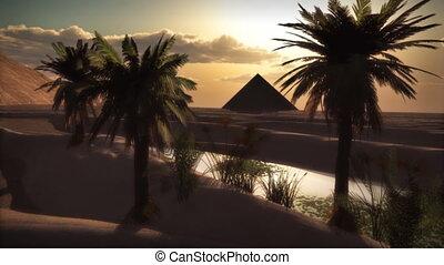 pełny, (1122), księżyc, piasek, piramida, zachód słońca, oaza, pustynia, pętla