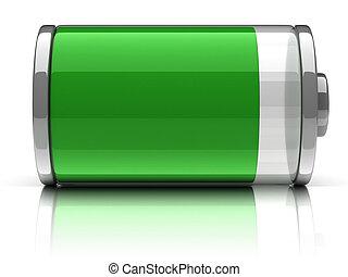pełny, bateria, 3d, ikona