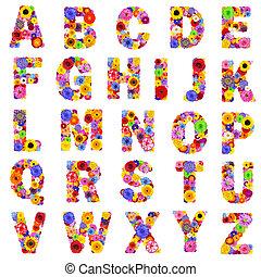 pełny, beletrystyka, alfabet, -, odizolowany, kwiatowy, biały, z