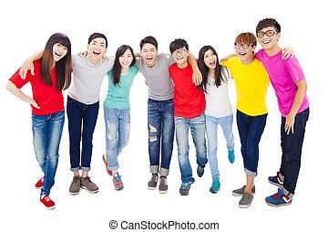 pełny, grupa, młody, długość, student, szczęśliwy