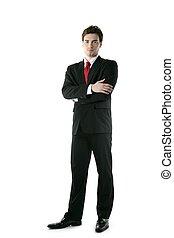 pełny, krawat, długość, przedstawianie, stać, garnitur, biznesmen