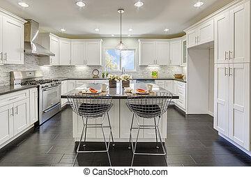 pełny, kuchnia, w, luksus, dom