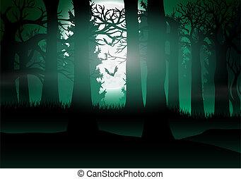 pełny, lekki, księżyc, las, tło, prospekt
