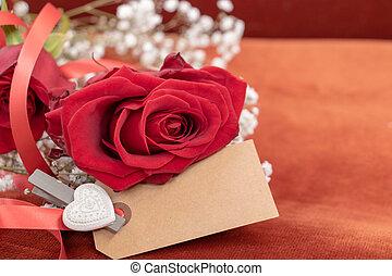 pełny, miłość, róża, czerwony, czysta wiadomość, karta