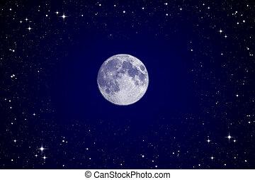 pełny, niebo, księżyc, noc