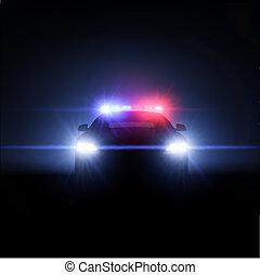 pełny, policyjny wóz, lights., ilustracja, wektor, szyk
