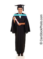 pełny, uniwersytet, absolwent, długość, samiczy afrykanin, portret