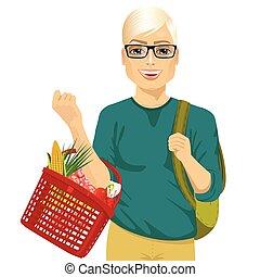 pełny, zakupy, młody, dzierżawa, kosz, okulary, człowiek