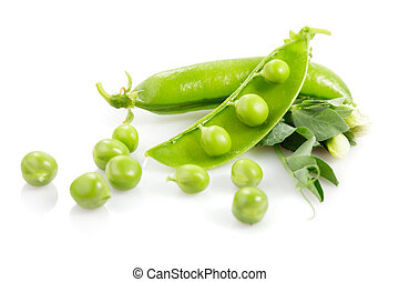Fresh pea pods with flower isolated on white