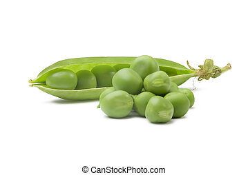 pea pod - Peas and Open Pea Pod  on a White background