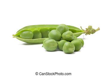pea pod - Peas and Open Pea Pod  on a White background