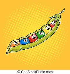 Pea pod with billiard balls pop art vector