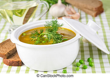 Pea soup in a tureen with lid