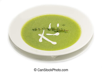 pea soup puree - pea puree soup with goat cheese and ...