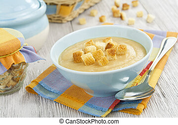 Pea soup with croutons - Pea soup with dried crust in the...
