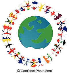 Peacce concept with Earth globe and holding hands people patterned in the World's flags