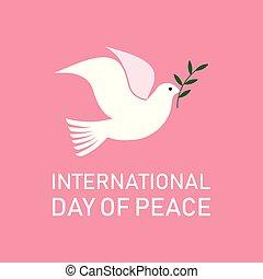 peace., παράρτημα , ελιά , διεθνής , περιστέρα , ημέρα