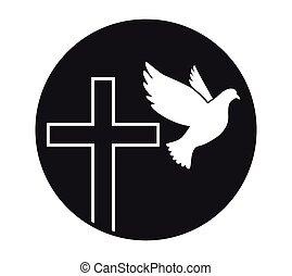 peace., 神聖, シンボル, religion., vector., 教会, 飛行, 鳩, spirit., logo., cross.