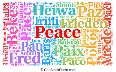 Peace 2018 word cloud in different languages