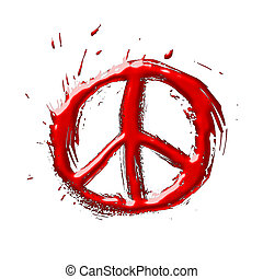 Peace 3D illustration symbol in Red on white background