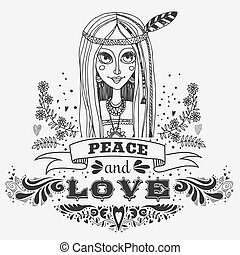 Peace and love. Hand drawn vintage poster with hippie girl.