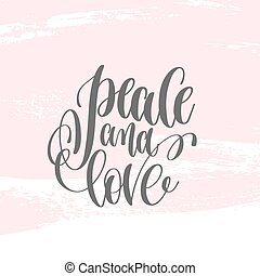 peace and love - hand lettering poster on pink brush stroke patt