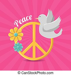 peace and love hippie concept