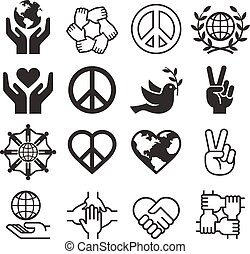 Peace and love symbol icons set. Vector llustrations.