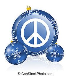 Peace blue christmas balls icon