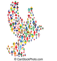 Peace concept with dove made of patterned people in world flags