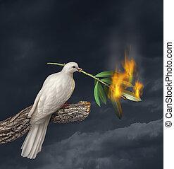Peace Crisis - Peace crisis concept with a white dove...