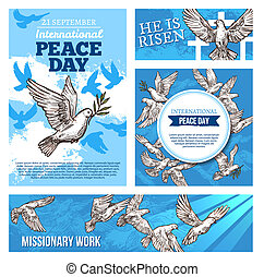 Peace day and missionary works banners with doves - Peace...