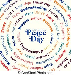 International Peace Day greeting card design with peaceful words for special holiday celebration in colorful style. EPS10 vector.