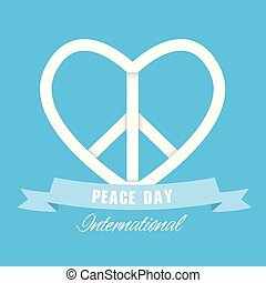 Peace Day International Ribbon Heart Peace Symbol Vector Image