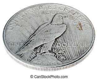 Peace Dollar - Tails High Angle - High angle view of the...