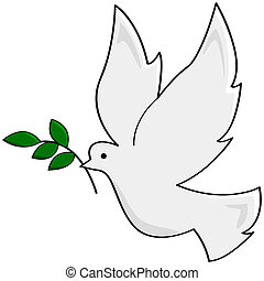 Cartoon illustration showing a white dove carrying a small branch, symbolizing peace