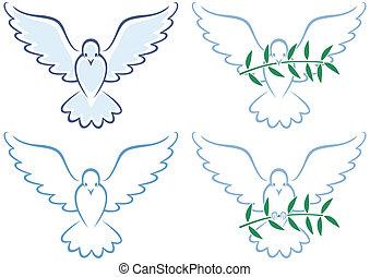 Peace Dove - Line art illustration of white dove in 4...