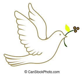 Vector illustration of a white dove holding an olive branch.