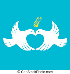 Peace Dove - Vector love symbol, peaceful dove.